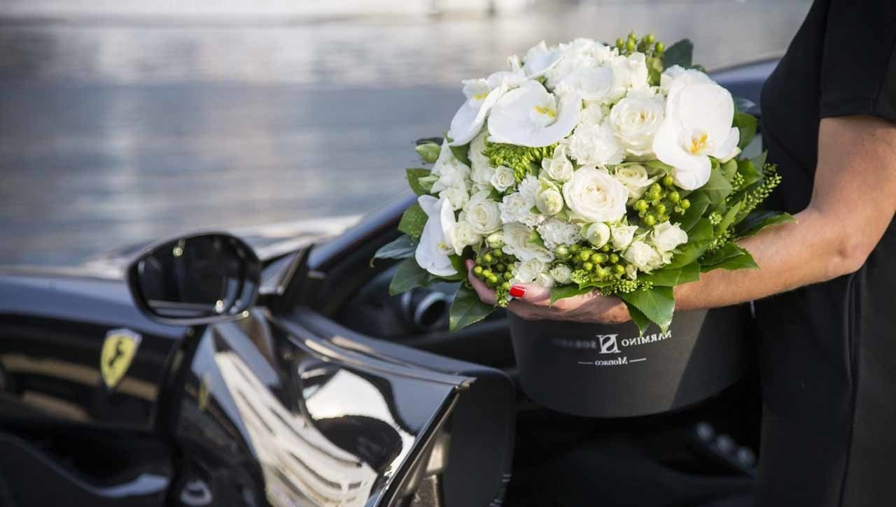 A flower box containing beautiful fresh flowers
