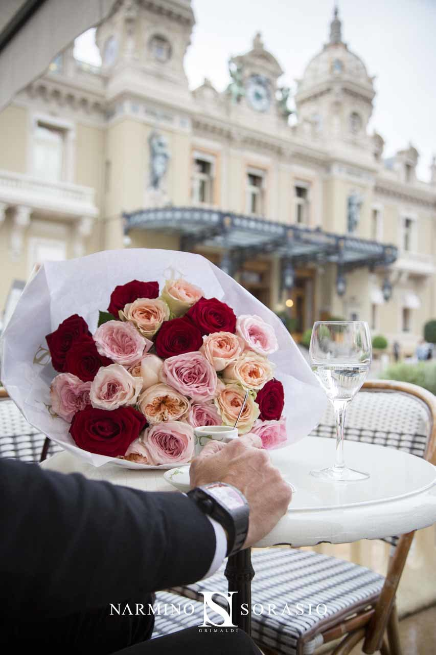 A bouquet at a table at the Café de Paris, Place du Casino de Monte-Carlo