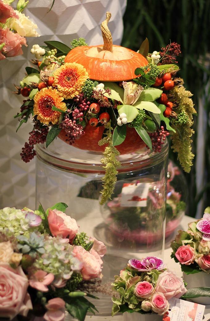 Fleurs et citrouilles pour Halloween