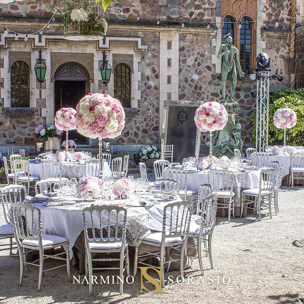 Floral decoration of the garden for the wedding