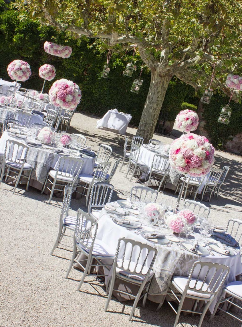Centre de tables et décoration florales pour un mariage
