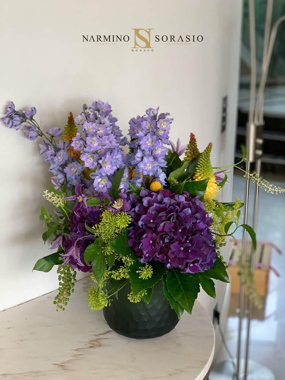 Un délicat bouquet aux tons bleus