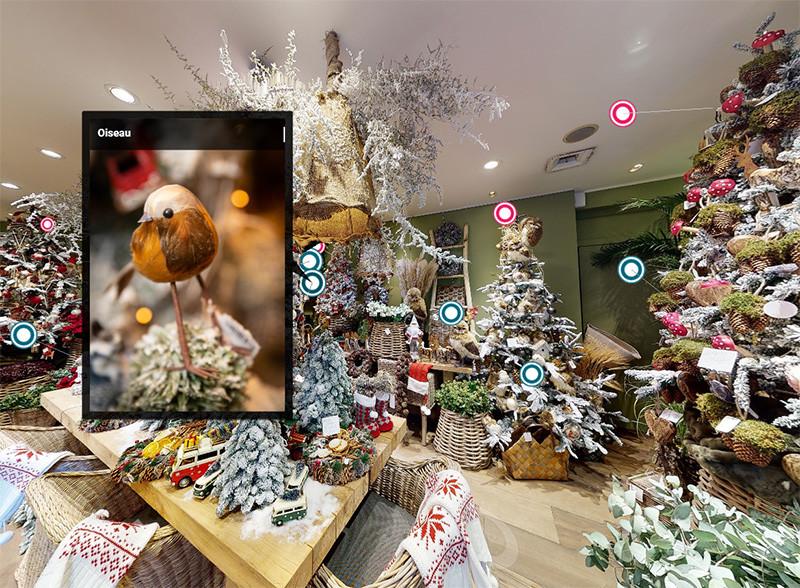 Une visite virtuelle de la boutique Charlotte en mode déco de Noël